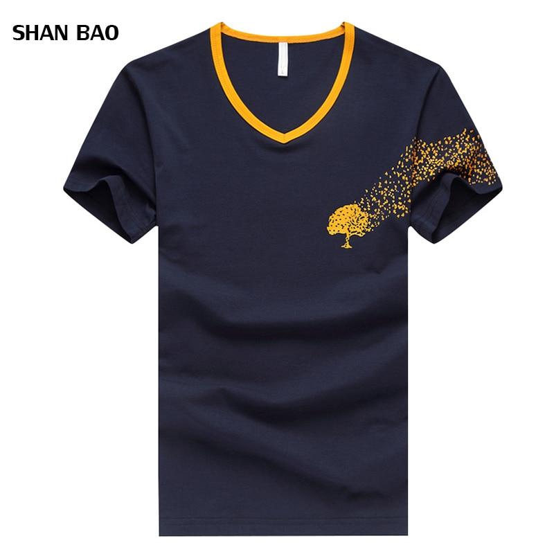 Hot 2018 Nieuwe Zomer Mode Heren T-shirts V-hals Gedrukt Slim Fit - Herenkleding
