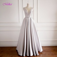 Melice Elegant Scoop Neck Robe de Soiree A Line Long Evening Dress 2018 Luxury Beaded Lace Up Celebrity Dress Formal Party Gown
