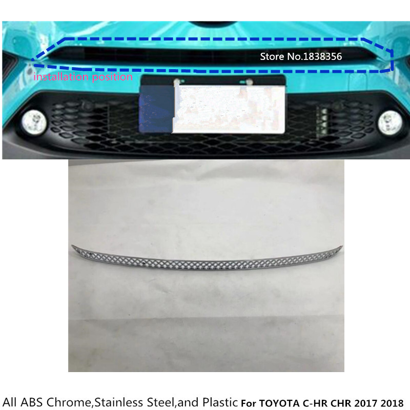 For TOYOTA C-HR CHR 2017 2018 car styling auto body protection detector ABS Chrome trim Front up Grid Grill Grille panel 1pcs car cover bumper engine abs chrome trim front grid grill grille frame edge moulding 1pcs for toyota c hr chr 2017 2018 2019