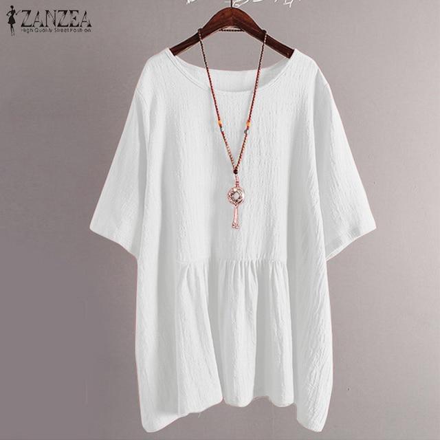 915138494e8 Женская блузка больших размеров винтажный летний топ ZANZEA с рукавами  «летучая мышь»