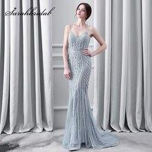 d16c387298 Cristal de lujo gris vestidos de noche atractiva correa de espagueti sirena  larga Tulle barrido tren