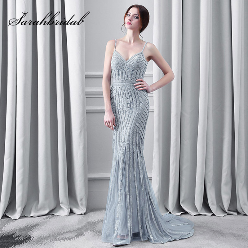 Luxury Crystal Gray Evening Dresses Sexy Spaghetti Strap