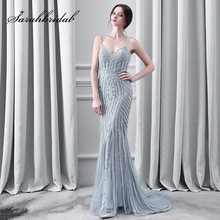 Luxury Crystal Evening Dresses Spaghetti Strap Mermaid Nude Navy Blue Tulle Party Occasion Formal Long Evening Gowns Real Photos.