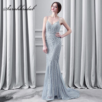 Luxury Crystal Gray Evening Dresses Sexy Spaghetti Strap Long Mermaid Tulle Sweep Train Fashion Women Prom Party Gowns OL116