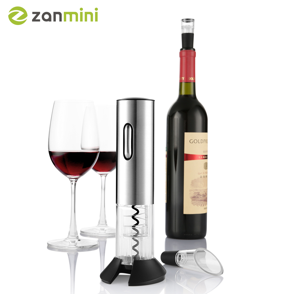 Zanmini Original Electric Wine Opener Corkscrew Automatic Wine Bottle Opener Cordless With Foil Cutter And Vacuum Stopper Z28