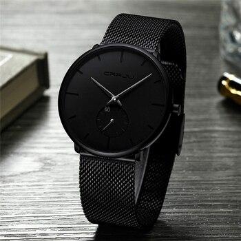 Ультра тонкие креативные черные кварцевые часы из нержавеющей стали Мужские Простые Модные деловые японские часы мужские Relogios