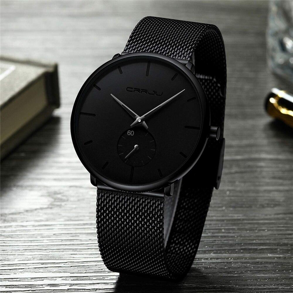 Ultra Dünne Kreative Schwarz edelstahl Quarz Uhren Männer Einfache Mode Business Japan Armbanduhr Uhr Männlichen Relogios
