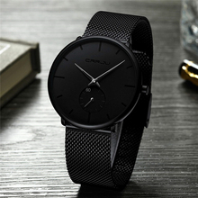 Ultra Thin Creative Black Stainless steel Quartz Watches Men