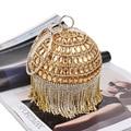 Fashion Gold Ball Full Diamond Luxury Tassel Lady Evening Bag Purse Circular Dinner Party Bags Crystal Clutch Bag Bolsa Feminina