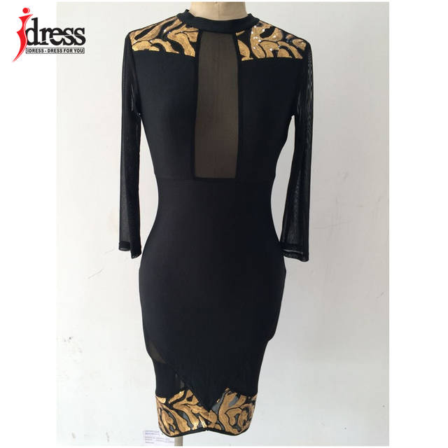 16358a2625 US $10.51 45% OFF|IDress Winter Women Black Sexy Club Bodycon Dress Sheer  Mesh Patchwork Sequined Dress Vintage Long Sleeve Bandage Party Dresses-in  ...