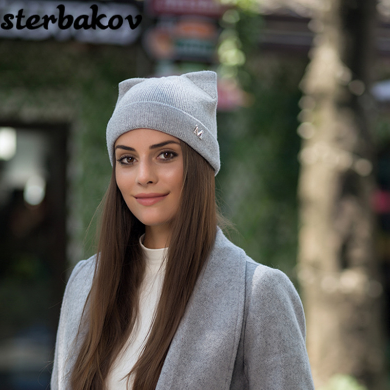 2017 New Brand Winter Hats Knitted Hat Hot Ears Cat Girl High Fashion Women Wool Hat Women Cap Caps trilby balaclava beanie ymsaid latest hot selling multi functional knit cap balaclava mask winter wool hats adult men and women neck warmer thick it tak