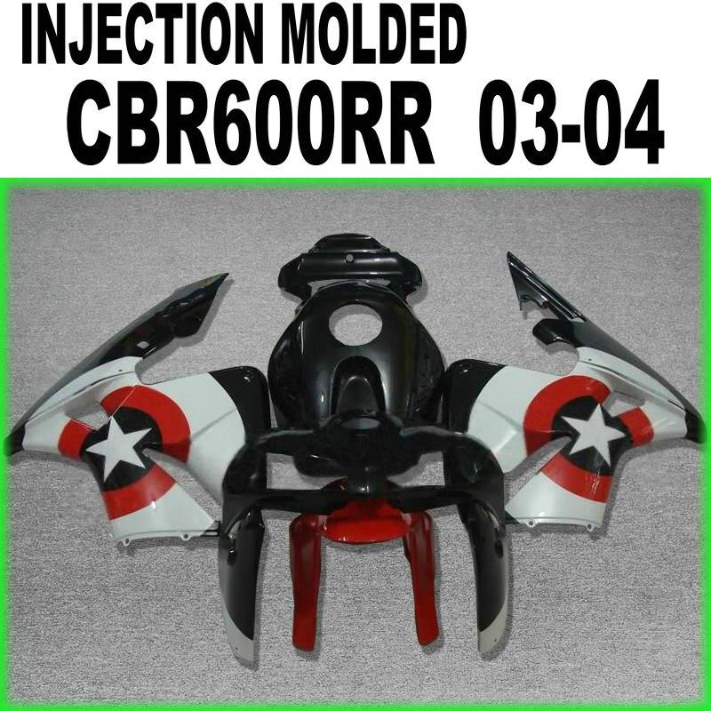 Pour Honda CBR600 2003 2004 04 03 (carénages noirs à bouclier étoile) kit de carénage d'injection 100% fit cbr600 l-15