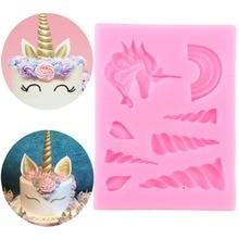 Molde de silicona con forma de cuerno de nube de unicornio para decoración de cupcakes, Fondant de pasta de goma para decoración, moldes de dulces de Chocolate