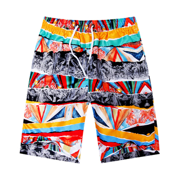 Men Summer Beach Flower Plaid Shorts
