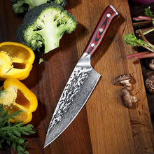 Sunnecko 6.5 Damascus Steel Chef Knife Japanese AUS10 Core Hammer Blade G10 Handle Kitchen Chefs Cooking Knives Gift Sharp Cut