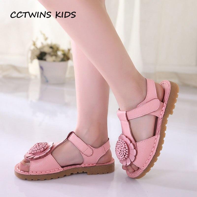 CCTWINS KIDS 2018 Summer Children Flower Beach Sandal Baby Girl Brand Genuine Leather Shoe Toddler Fashion White Flat BB072