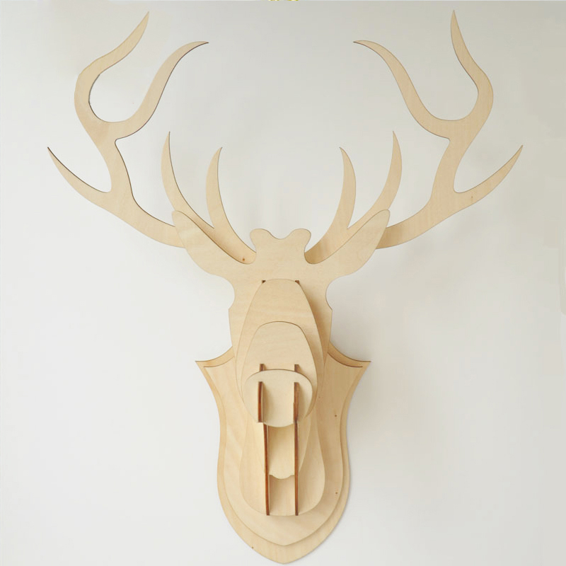 Superb QITAI Impiallacciatura Di Legno FAI DA TE Stag Deer Head (Grande Formato)  WF108