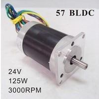 3 Phase 24V 57 Brushless DC Motor 125W 3000rpm 0.4N.m (55.6oz in) Square Flange Frame