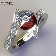 Canner Pokemon Ball Bling Zircon Cubic Ring Cartoon Rhinestone Crystal Rings Vintage Wedding Engagement For Women Girl