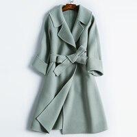 Plus Size Winter Simple Long Alpaca Wool Pink Red Camel Coats Womens Casaco Feminino Manteau Doudoune