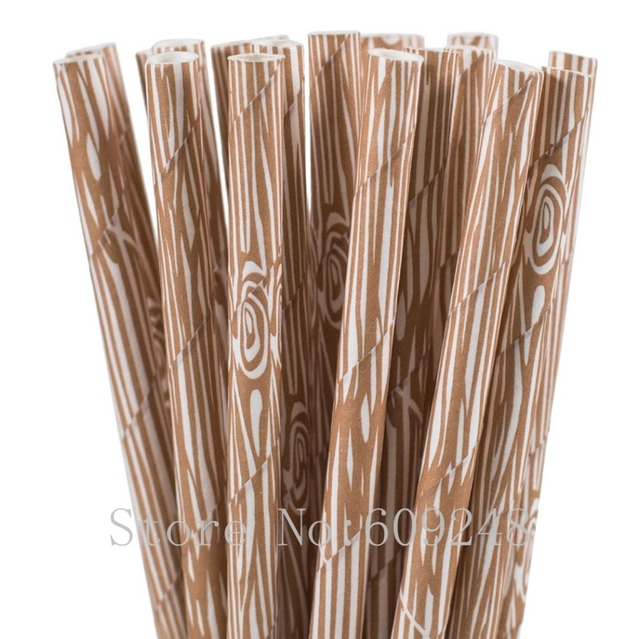 100pcs Brown Wood Grain Paper StrawsCute Woodgrain Rustic Wedding Birthday Shabby Chic Forest Camping