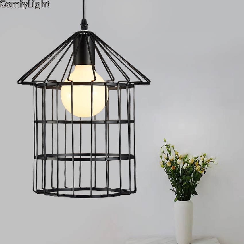 Black/whiteLoft Vintage Industrial Retro Pendant Lamp LED Light E27 Holder Iron Restaurant Bar Counter Attic Bookstore Cage Lamp new style vintage e27 pendant lights industrial retro pendant lamps dining room lamp restaurant bar counter attic lighting