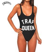 TRAP QUEEN Letter Print SWIMSUIT Women Sexy One Piece Monokini Bodysuit Bathing Suit Swimwear Swim Suits Jumpsuits Beach