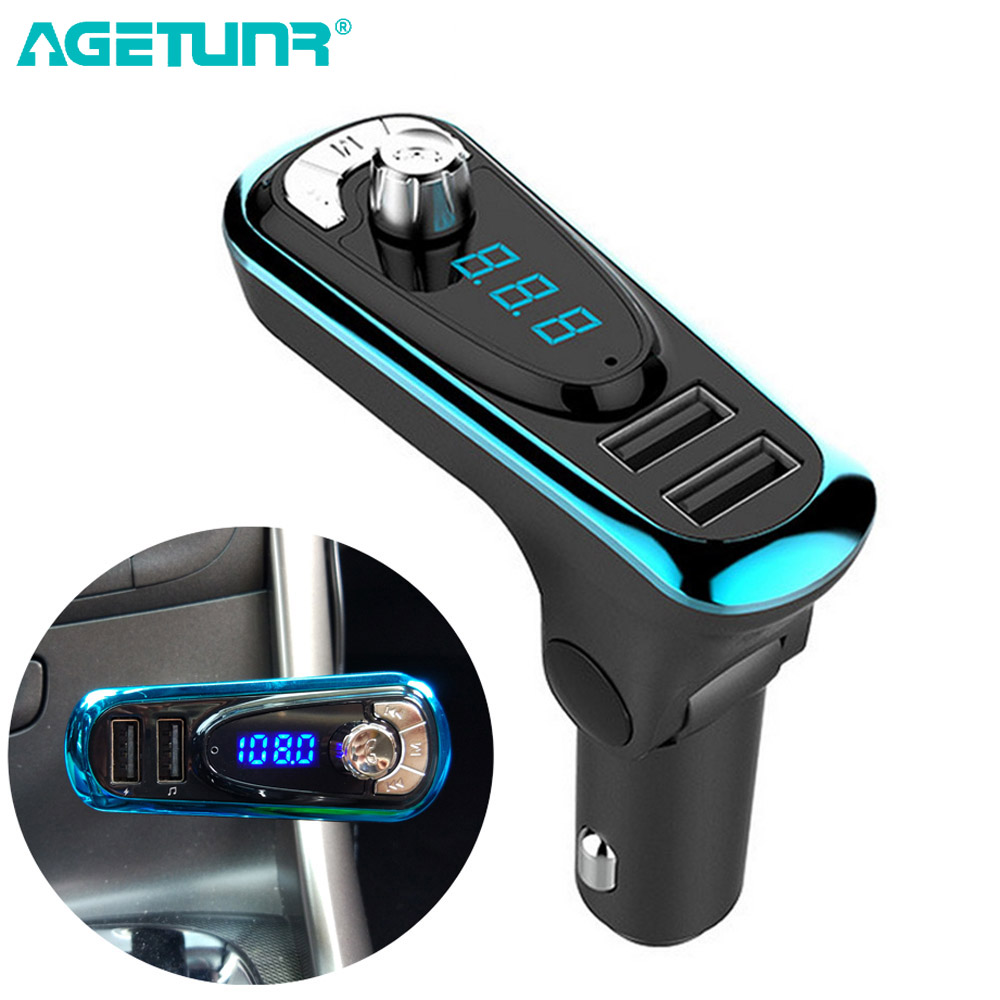AGETUNR T16 Ny Bluetooth Car Kit Handsfree Set FM-sändare MP3-musik - Bilelektronik