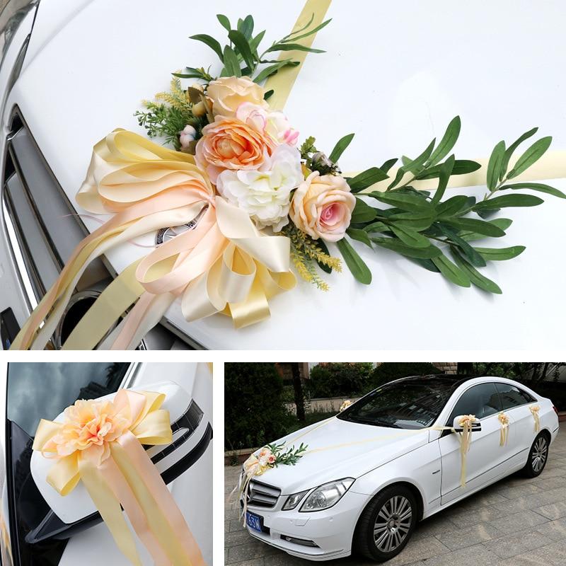 4COLOR Wedding Car Silk Flower Decoration Kit European Multi color Wedding Chair Back Fake Flower Artificial