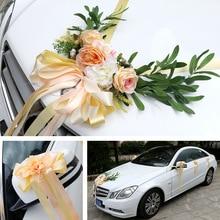 4COLOR Wedding Car Silk Flower Decoration Kit European Multi-color Wedding Chair Back Fake Flower Artificial Plants Roses