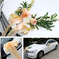 4COLOR Wedding Car Silk Flower Decoration Kit European Multi color Wedding Chair Back Fake Flower Artificial Plants Roses