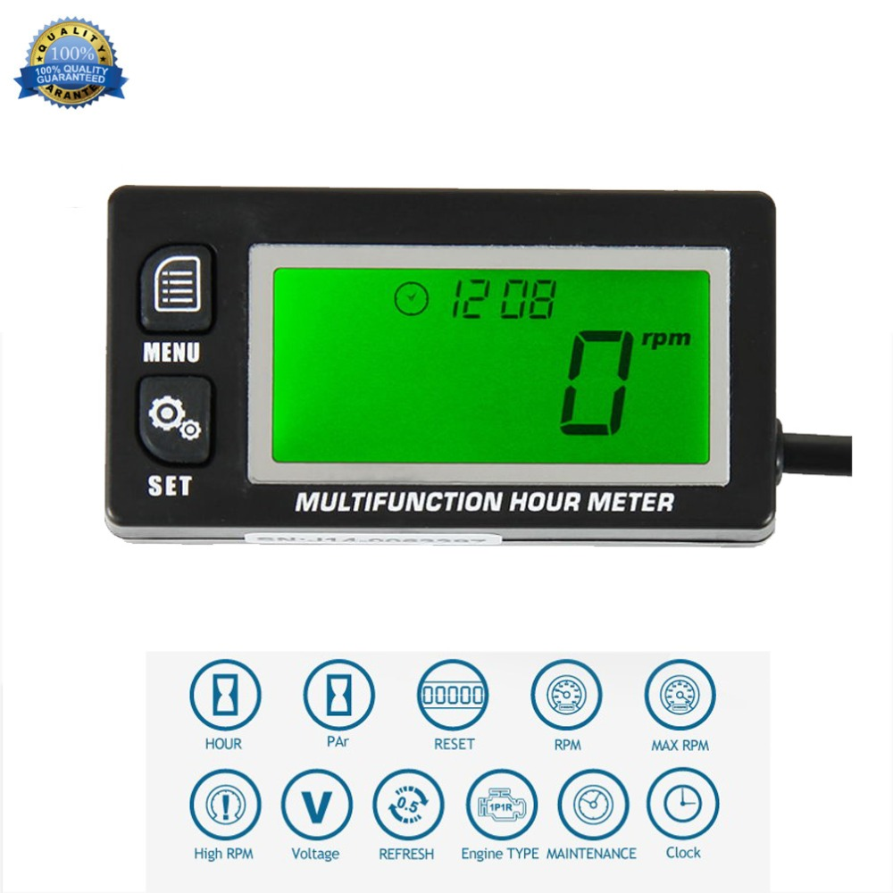 Multifunction Hour Meter Tachometer Voltmeter With Clock 2 & 4 Stroke for Small Engine Boat Outboard Mercury Motocross RL-HM028Multifunction Hour Meter Tachometer Voltmeter With Clock 2 & 4 Stroke for Small Engine Boat Outboard Mercury Motocross RL-HM028