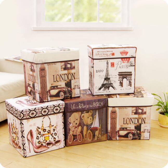 Mode Vintage impression Film boîte de rangement grande capacité jouets tabouret de rangement multifonctionnel avec couvercle pliant organisateur de stockage
