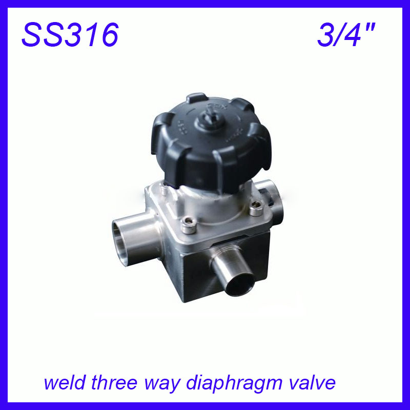 3/4 SS316L Sanitary stainless steel weld three way manual diaphragm valve sterile food grade f Wine, milk, beverages