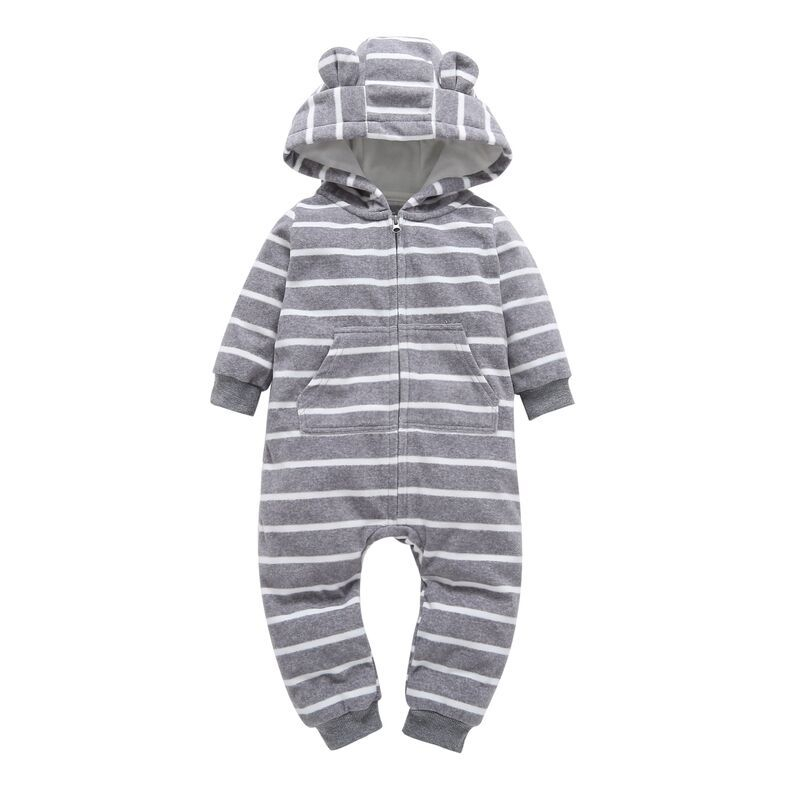 Autumn Winter Newborn Infant Baby Clothes Fleece Jumpsuit Boys Romper Hooded Jumpsuits Stripe Onesie Baby Bebe Menino Macacao new 2016 autumn winter kids jumpsuits newborn baby clothes infant hooded cotton rompers baby boys striped monkey coveralls