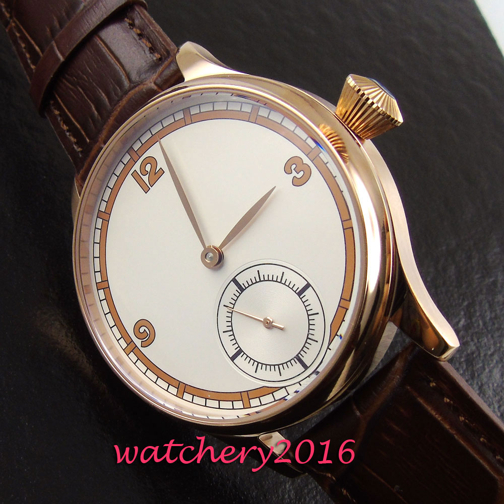Casual 44mm Parnis rose golden case white dial 6498 hand winding movement Men's Watch corgeut 44mm white dial rose golden case hand winding 6498 mens watch