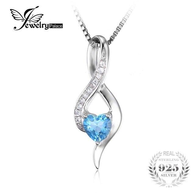 JewelryPalace Сердце Любовь 0.6ct Подлинной Swis Синий Белый Топаз Подвеска Стерлингового Серебра 925 Не Включает в Себя Цепь