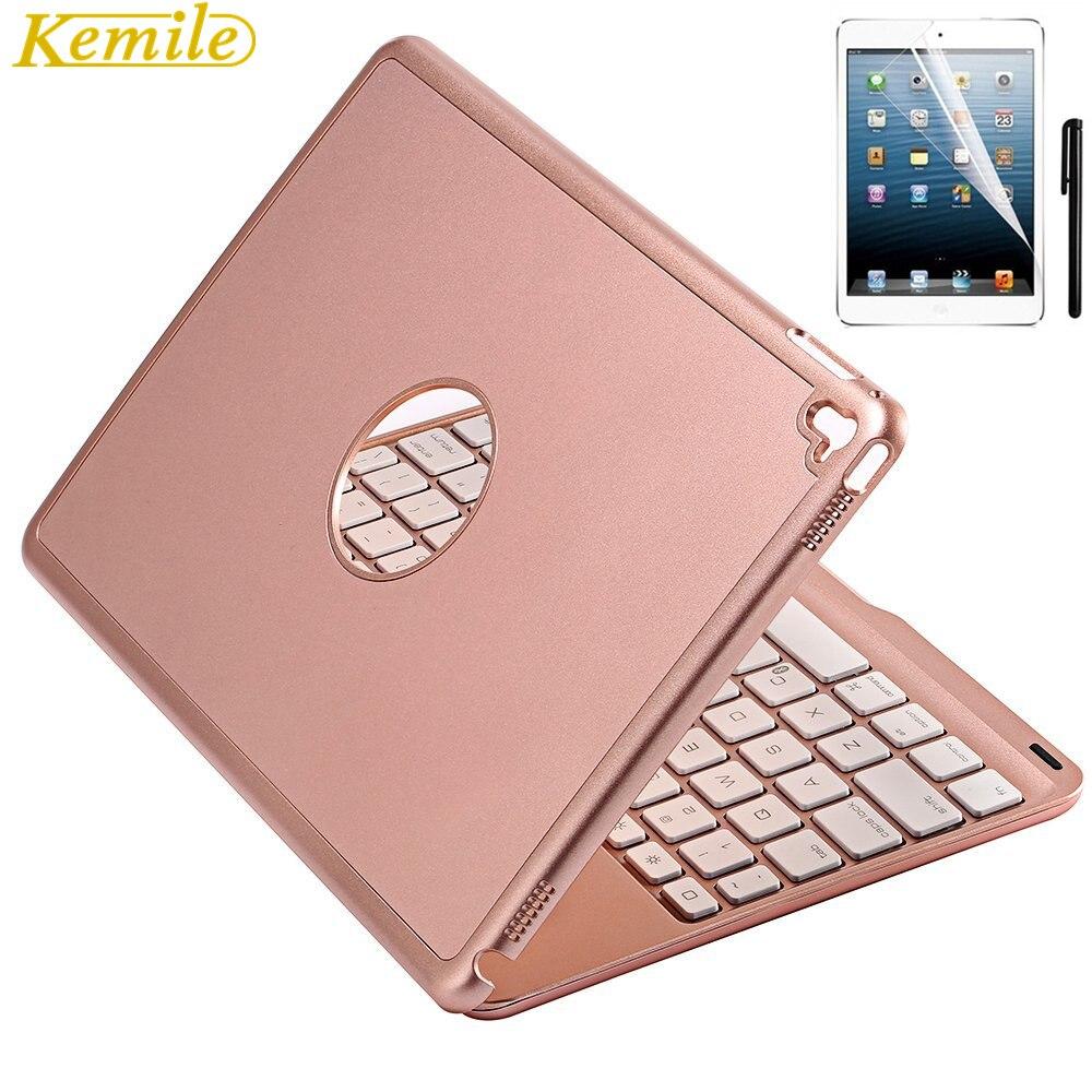 7 Colors Backlit Light Aluminum Wireless Bluetooth Keyboard Case Cover For iPad mini / mini2 For iPad mini3/ iPad mini4 + Gift