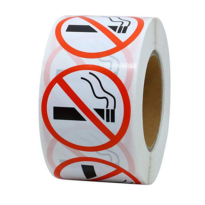 500pcs/roll Round No Smoking Stickers 1 Inch for public area Self Adhesive Waterproof Warning Decal stationery stickers