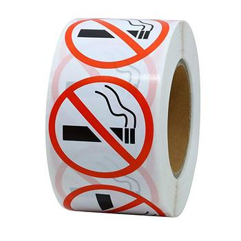 500pcs/roll Round No Smoking Stickers 1 Inch for public area Self Adhesive Waterproof Warning Decal stationery stickers contains generic medical cannabis warning labels keep out of reach of children 1 5 round adhesive warning stickers 500pcs