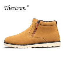 Snow Boots Men Khaki Blue Man with Fur Comfortable Winter Warm for Rubber Sole Casual Shoes High Top Retro