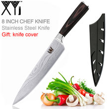Stainless Steel Kitchen Knife Chef Knives 8 inch Japanese 7CR17 440C High Carbon Sanding Laser Pattern Vege Santoku Knife Cove(China)