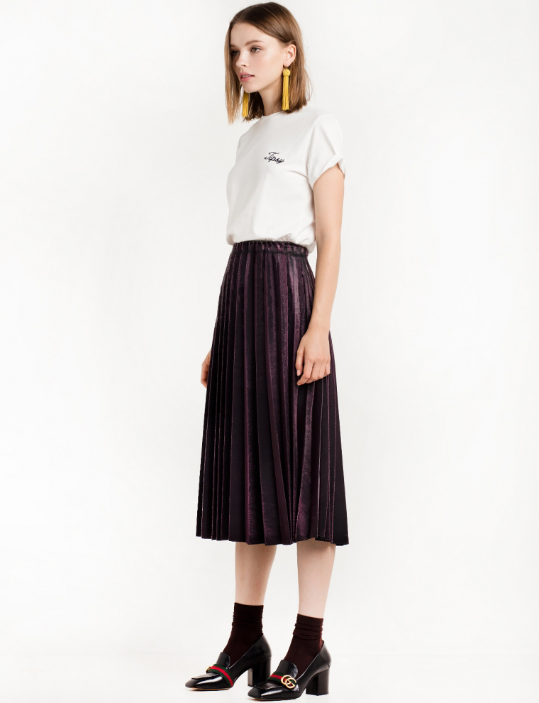 2016 Chic Vintage Woman Highwist Pleated Velvet skirt Slim Maxi skirt - Կանացի հագուստ - Լուսանկար 2