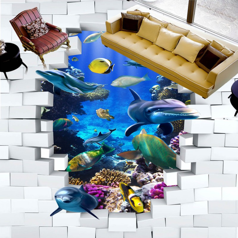 Free shipping custom anti-skidding thickened bathroom mural wallpaper Underwater World Dolphins 3D Stereo Painting Flooring