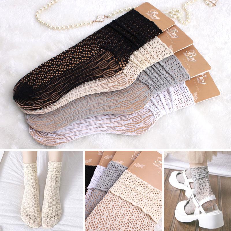 Pile Of Socks Children Korea Thin Japanese Socken Sweet Calcetines Spring Vintage Lace Sox Openwork Fungus In Parent-child Soks