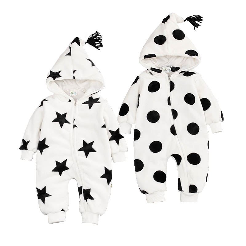NewBorn Baby Boy Clothes Fashion Star Polka Dot Coral Fleece Hooded Romper Infant Babies Clothes Meninas Jumpsuit Winter Overall puseky 2017 infant romper baby boys girls jumpsuit newborn bebe clothing hooded toddler baby clothes cute panda romper costumes