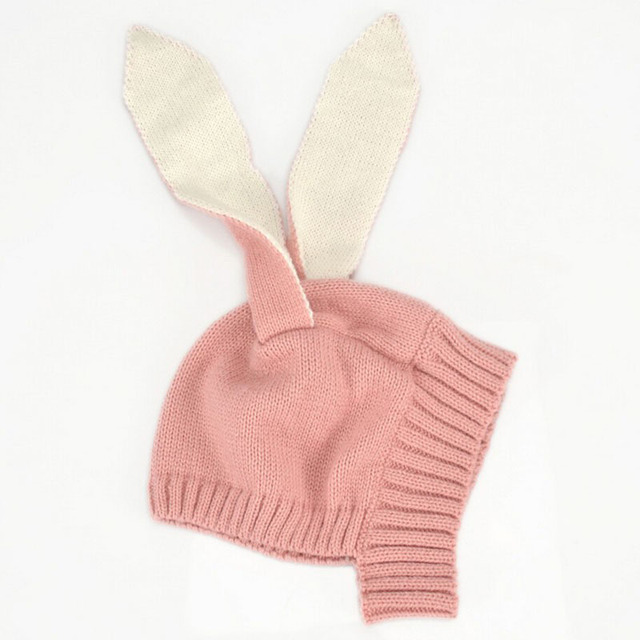 Winter Baby Toddler Kids Boy Girl Knitted Rabbit Crochet Cute Long Ear Beanie Warm Hat Cap Photography Props