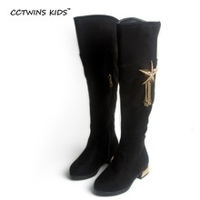 CCTWINS KIDS 2017 Winter Over-Knee-High Boot Baby Girl Flock Toddler Brand Boot Children Fashion Black Pendant Warm Boot CH1363