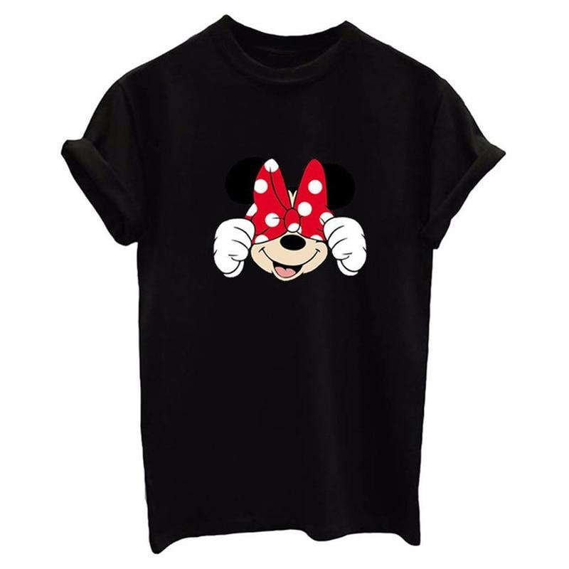 Cartoon Women T Shirt Mickey Short Sleeve Tshirt White Girl Cotton Tops Kawaii Black Tee Shirt Femme Clothes 2019