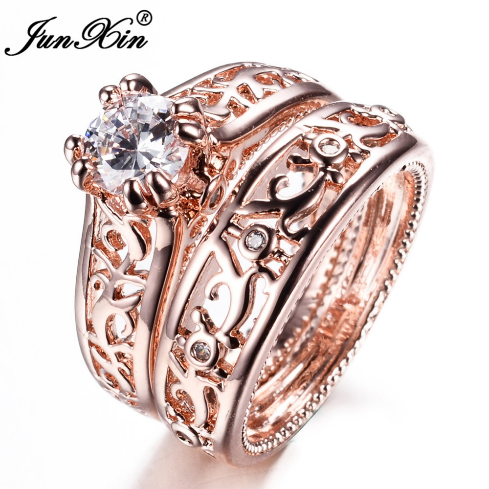 Aliexpress Buy JUNXIN New Sale Men Women Ring Set Rose Gold Filled Wedding Engagement